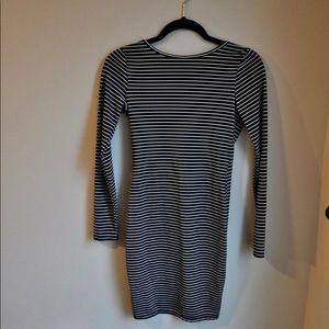 Black & White Striped Mini Dress Low Back